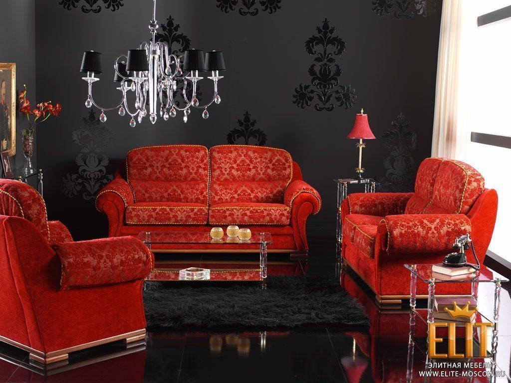 Интерьер с мебелью черного цвета
